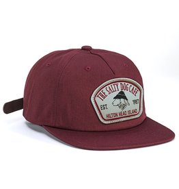 Hat Pinch Front Flat Bill Hat in Maroon