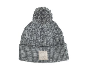 Cable Knit Beanie with Pom In Gray Ivory - The Salty Dog Inc a6b95a57a776