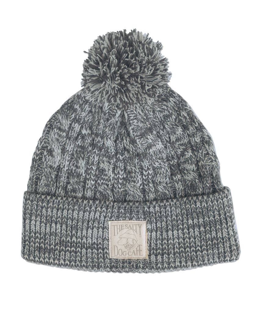 Hat Cable Knit Beanie with Pom In Grey Ivory