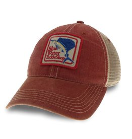 Hat Blue Water Old Favorite Trucker in Cardinal