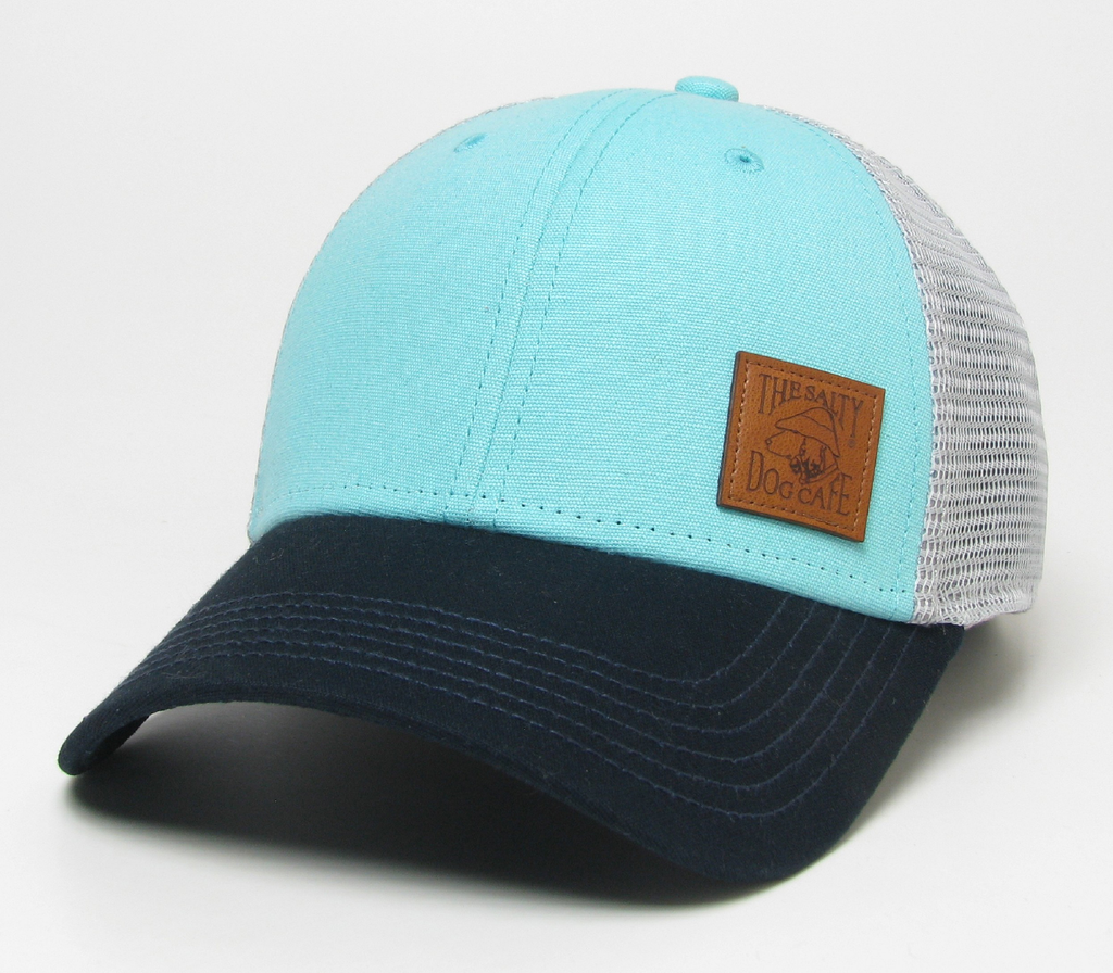 Hat Leather Patch Mid-Pro Trucker in Mint/Navy