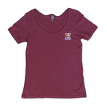 Hanes Women's Triblend Sccop Neck in Heather Berry