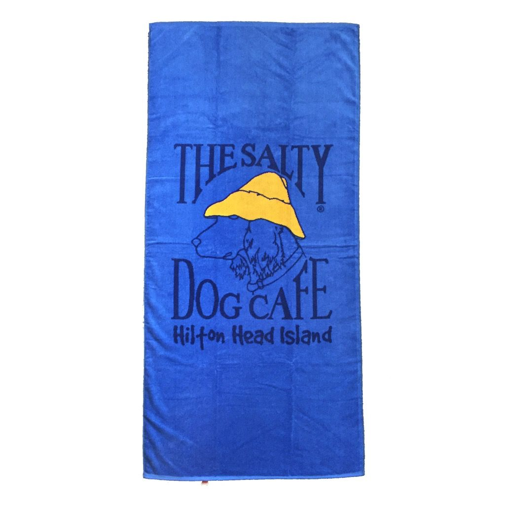 Salty Dog Beach Towel Woven in French Blue