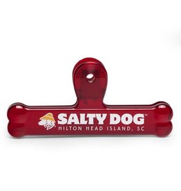 Salty Dog Bone Bag Clip in Red