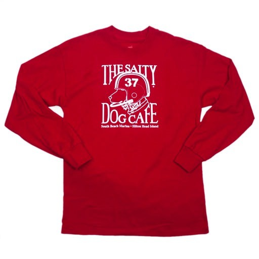 Hanes Youth Football Dog Long Sleeve Tee in Red