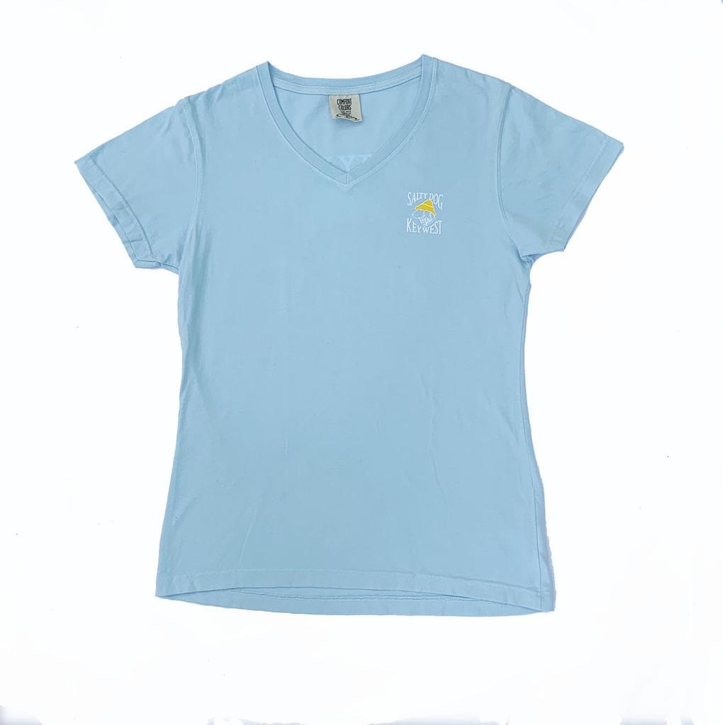 T-Shirt Key West Women's V-neck in Chambray