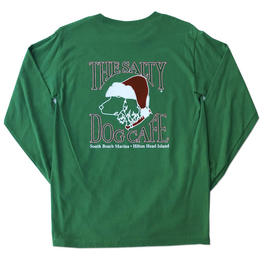 T-Shirt Santa Dog Long Sleeve Comfort Colors Shirt in Green