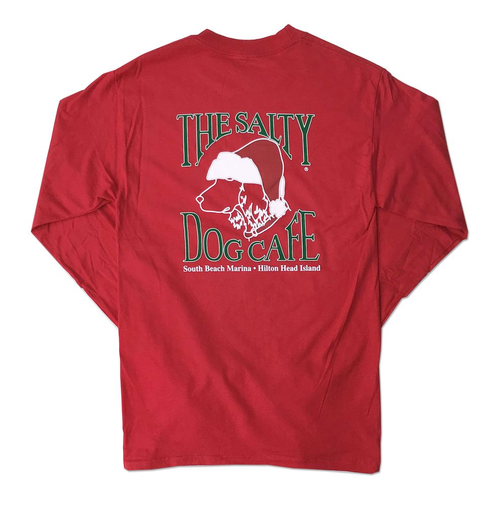T-Shirt Santa Dog Long Sleeve Comfort Colors Shirt in Red
