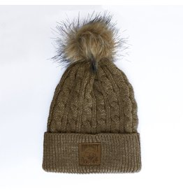 4215c983f20 AHead Cable Knit Beanie with Pom in Hazel