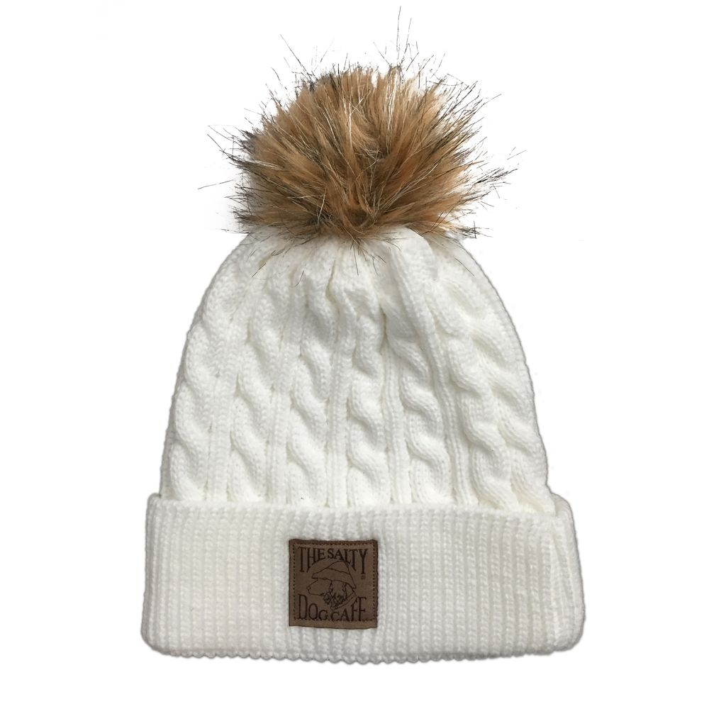 AHead Cable Knit Beanie with Pom in White