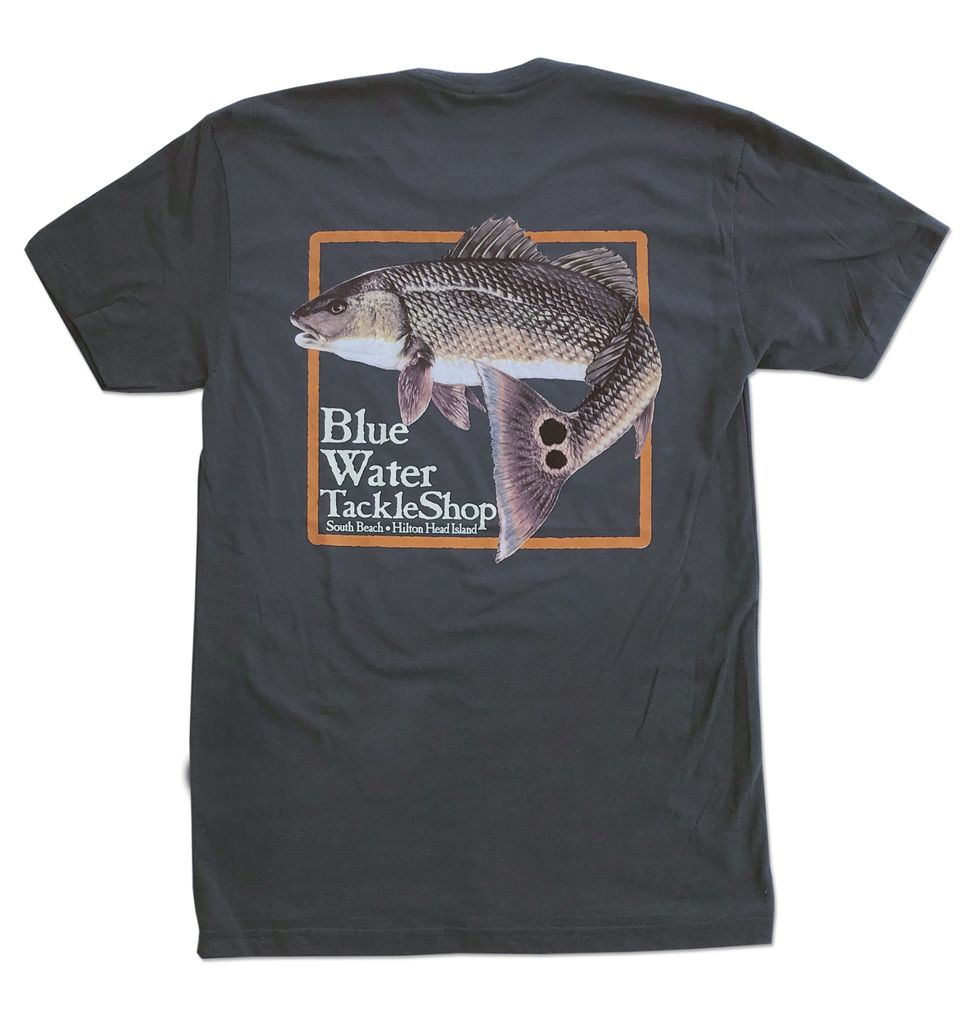 T-Shirt Blue Water Red Fish Tee