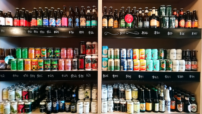 the bottle shop beer shelf