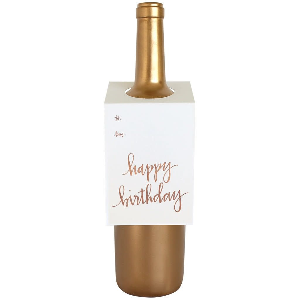 Chez Gagné Letterpress Chez Gagné Letterpress Wine & Spirit Tag - Happy Birthday - Rose Gold
