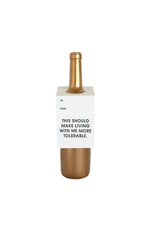 Chez Gagné Letterpress Chez Gagné Letterpress Wine & Spirit Tag - More Tolerable