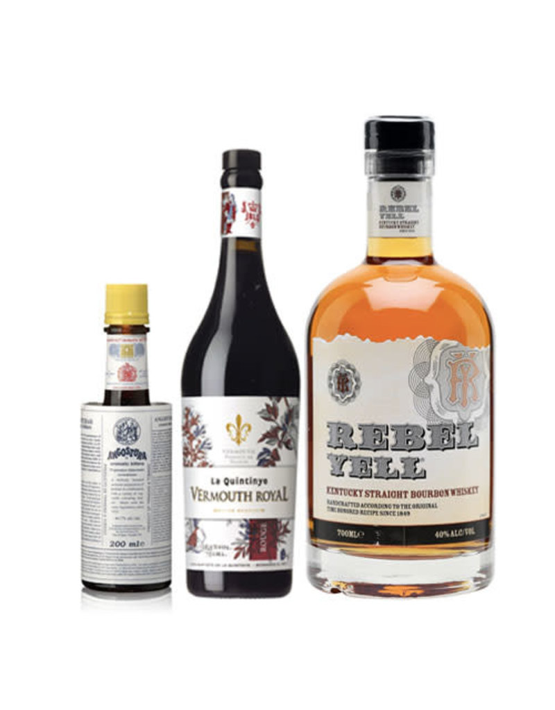 Manhattan Combo (Rebel Yell Straight Bourbon + La Quintinye Vermouth Rouge + Angostura Aromatic Bitters)