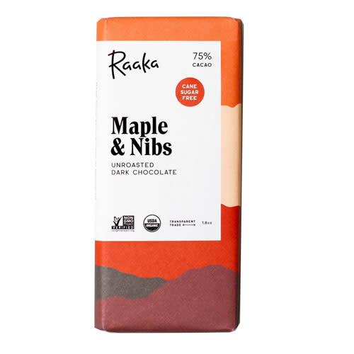 Raaka Chocolate Raaka Chocolate Maple and Nibs 75% 50g
