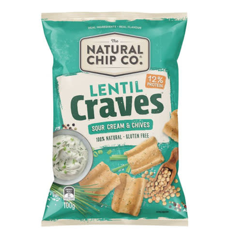 Natural Chip Co Natural Chip Co Lentil Craves Sour Cream & Chives 100g
