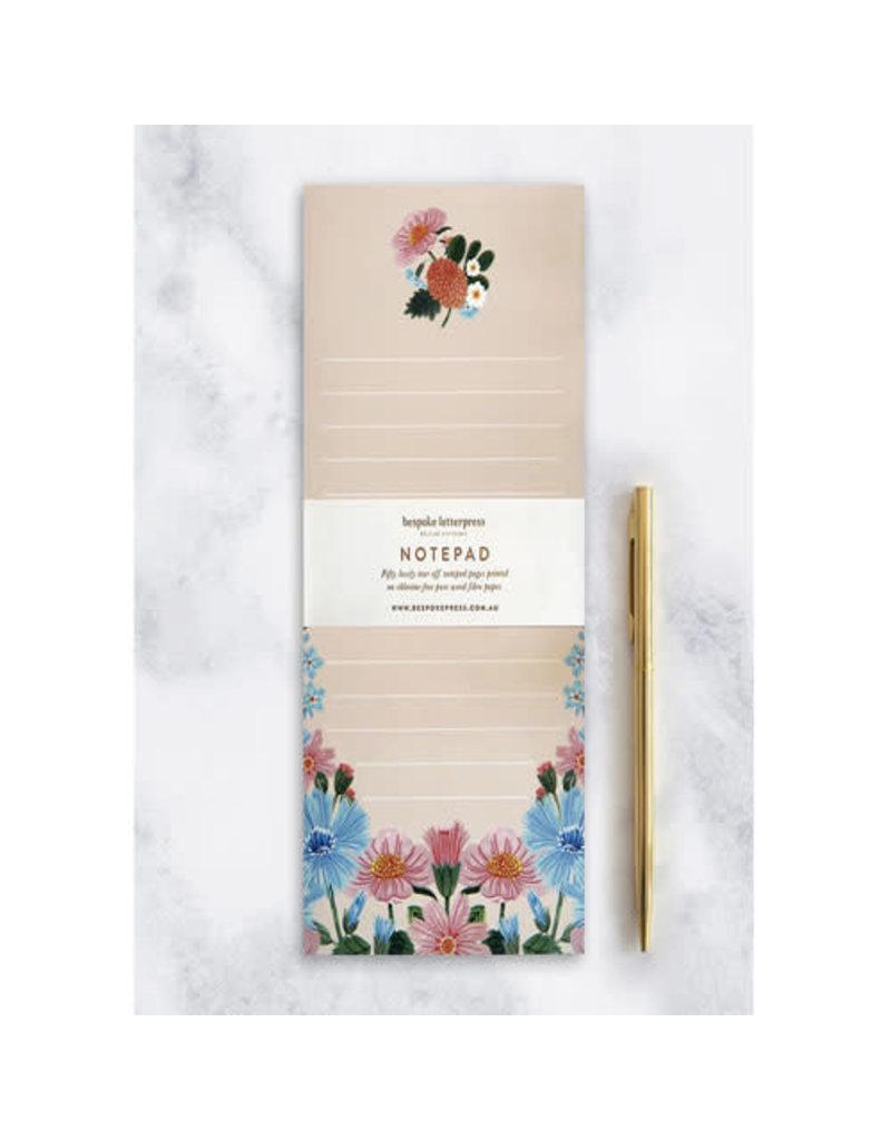 "Bespoke Letter Press Bespoke Letterpress Folk DL Notepad ""Floral"""