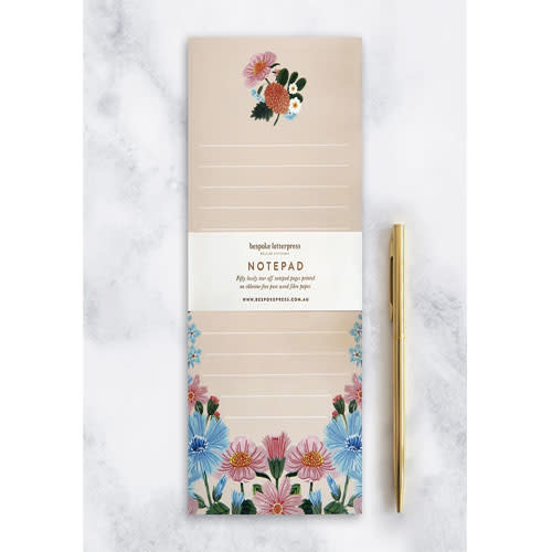 "Bespoke Letter Press Bespoke Letterpress Folk DL Notepad ""Floral"""
