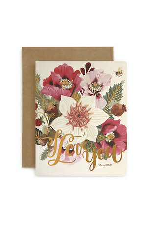 Bespoke Letter Press Bespoke Letterpress Greeting Card - I Love You (Jungle)