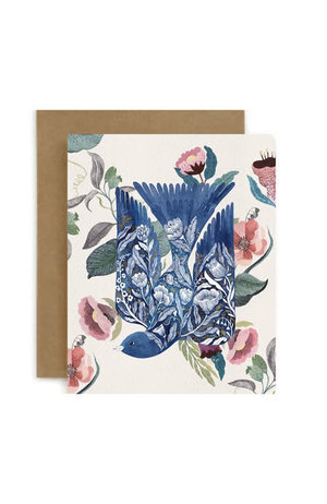 Bespoke Letter Press Bespoke Letterpress Greeting Card - Blue Bird (Blomstra)