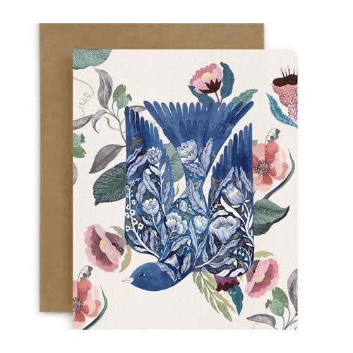 Bespoke Letter Press Bespoke Letterpress Greeting Card - Blue Bird (Blomstra)