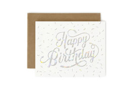 Bespoke Letter Press Bespoke Letterpress Greeting Card - Happy Birthday (Holographic Foil)