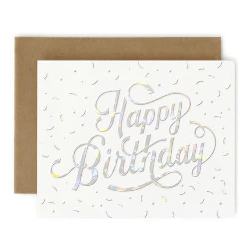 Bespoke Letter Press Bespoke Letterpress Greeting Card - Happy Birthday (Holographic Foil)
