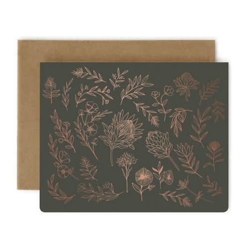 Bespoke Letter Press Bespoke Letterpress Greeting Card  - Botanical Study Charcoal