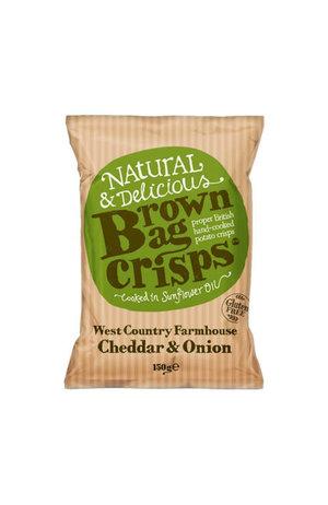 Brown Bag Crisps Brown Bag Crisps West Country Farmhouse Cheddar & Onion Crisps 150g