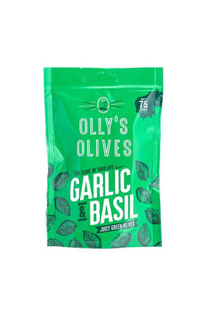 Olly's Olives Olly's Olives The Connoisseur Garlic & Basil Green Olives 50g