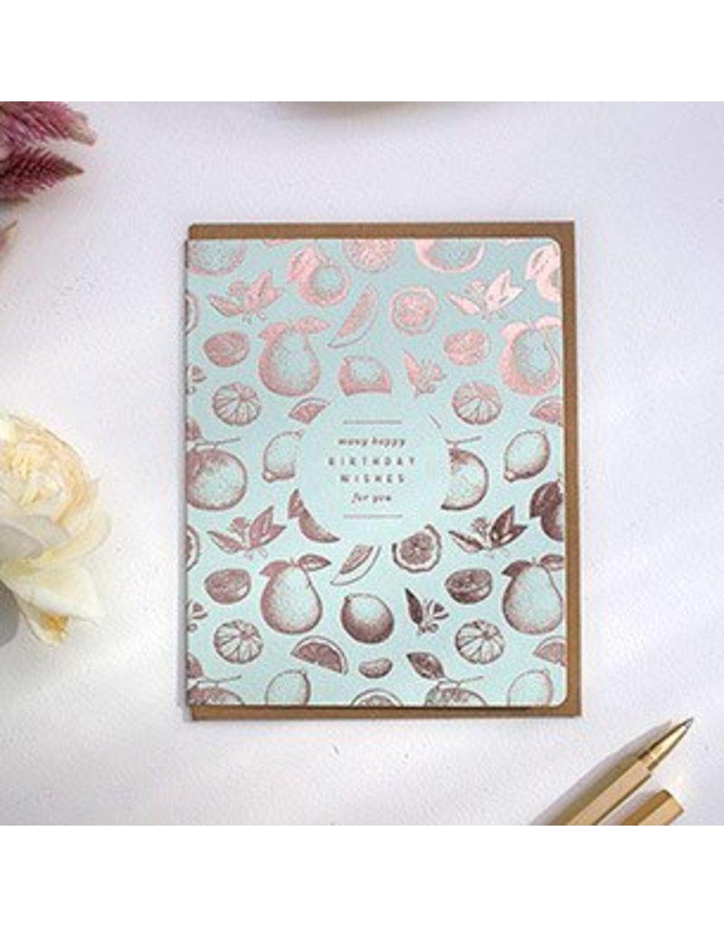 "Bespoke Letter Press Bespoke Letterpress Greeting Card - Botanical ""Many Happy Birthday Wishes for you"" (foil)"
