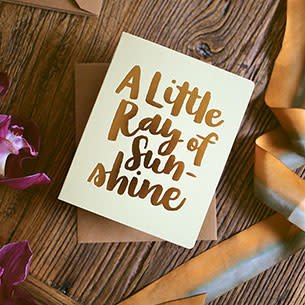 Bespoke Letter Press Bespoke Letterpress Greeting Card - Little Ray of Sunshine (foil)