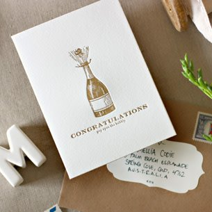 Bespoke Letter Press Bespoke Letterpress Greeting Card - Congratulations, pop open the Bubbly