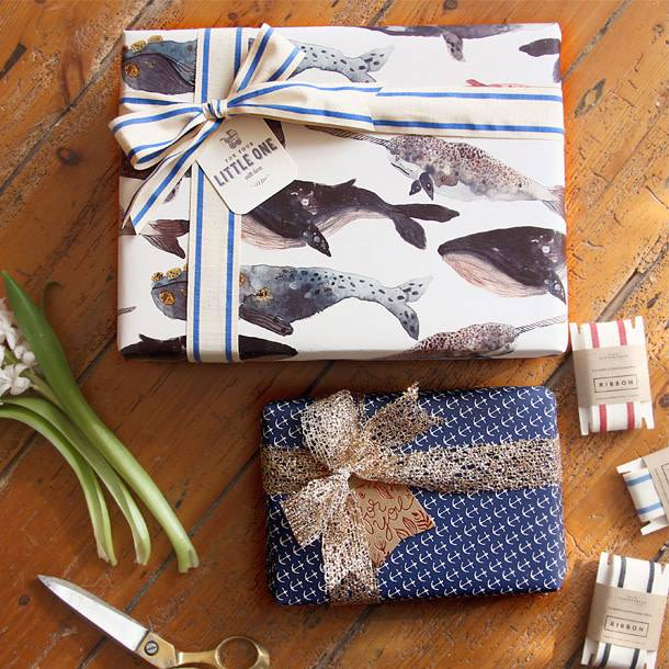 Bespoke Letter Press Bespoke Double Sided Gift Wrap - Anchors / Whales