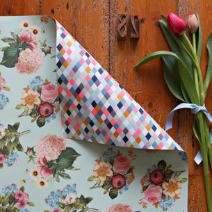 Bespoke Letter Press Bespoke Double Sided Gift Wrap - Floral Bouquet / Neon Diamonds