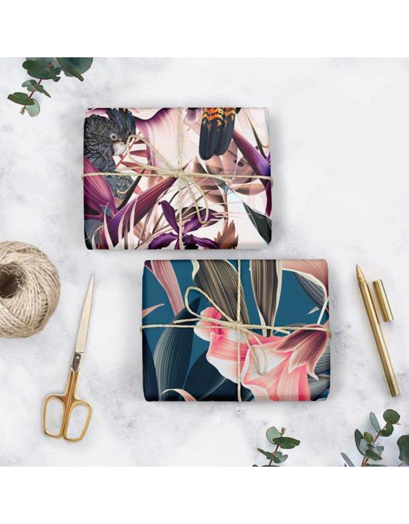 Bespoke Letter Press Bespoke Double Sided Gift Wrap - Black Cockatoo / Teal