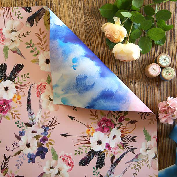 Bespoke Letter Press Bespoke Double Sided Gift Wrap - Watercolour Blue / Floral