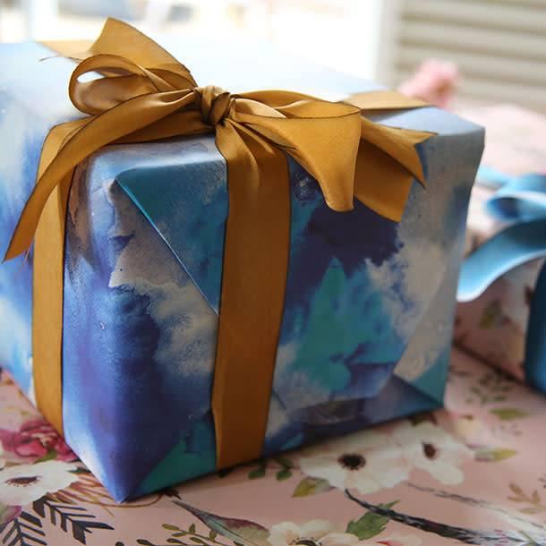 Bespoke Letter Press Bespoke Double Sided Gift Wrap - Watercolour Blue / Floral