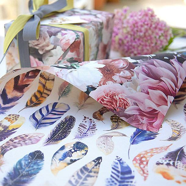 Bespoke Letter Press Bespoke Double Sided Gift Wrap - Peonies / Watercolour Feathers
