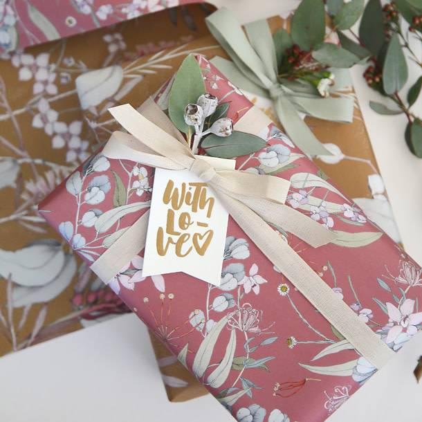 Bespoke Letter Press Bespoke Double Sided Gift Wrap - Gum Leaves / Bush Blossom