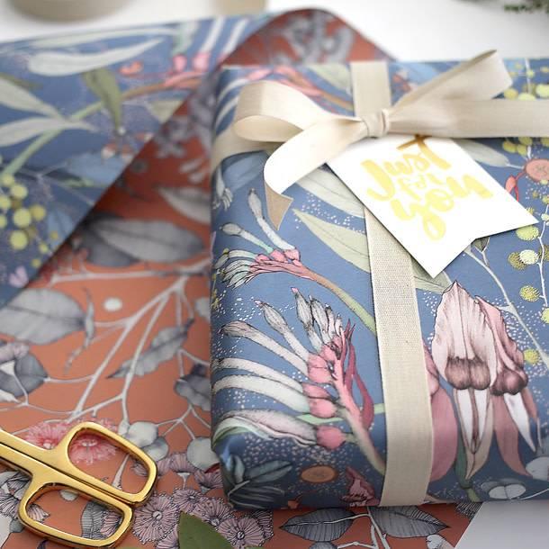 Bespoke Letter Press Bespoke Double Sided Gift Wrap - Corymbia / Desert Pea