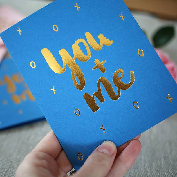 Bespoke Letter Press Bespoke Letterpress Greeting Card - You + Me (foil)