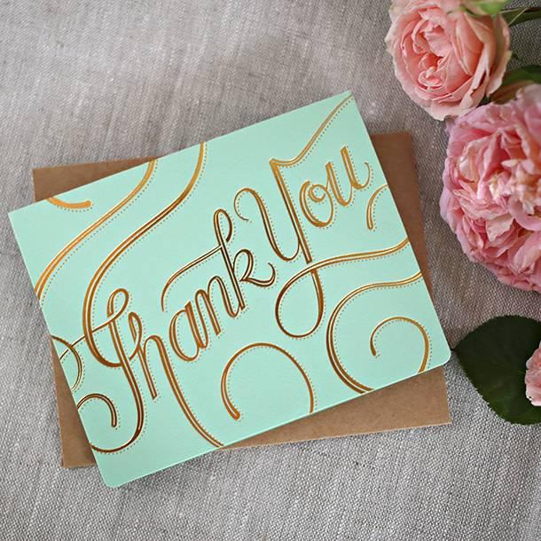 Bespoke Letter Press Bespoke Letterpress Greeting Card - Thank you (foil)
