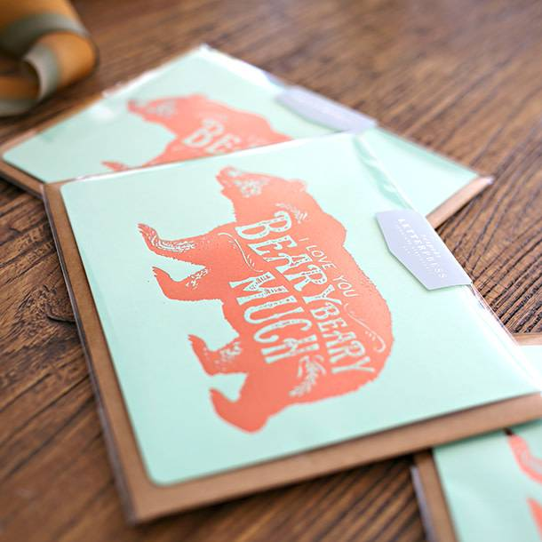 Bespoke Letter Press Bespoke Letterpress Greeting Card - Love you beary much (foil)
