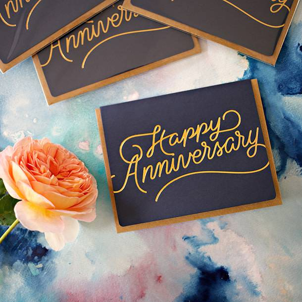 Bespoke Letter Press Bespoke Letterpress Greeting Card - Happy Anniversary (foil)