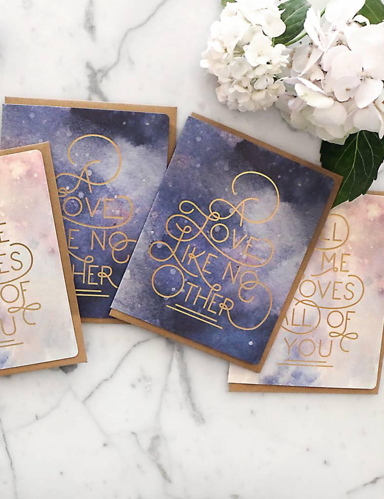 Bespoke Letter Press Bespoke Letterpress Greeting Card - Love Like No Other (foil on Watercolour)