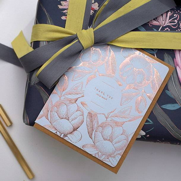 "Bespoke Letter Press Bespoke Letterpress Greeting Card - Botanical ""Thank you very much"" (foil)"