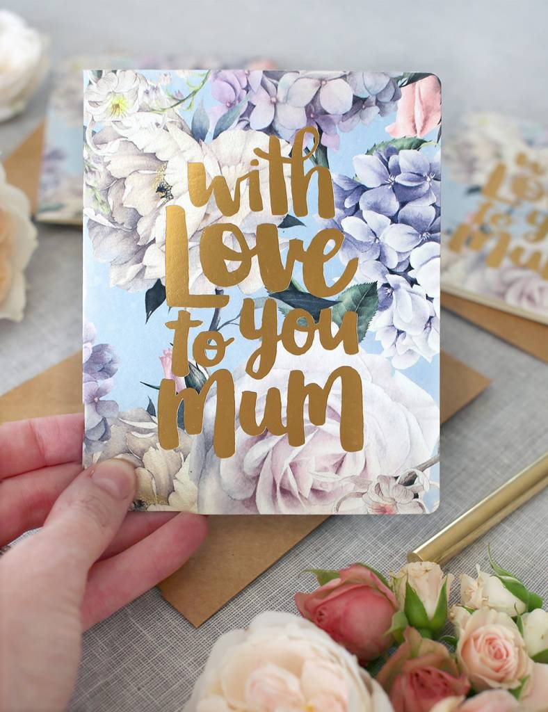 Bespoke Letter Press Bespoke Letterpress Greeting Card - With Love To You Mum (Gold Foil)