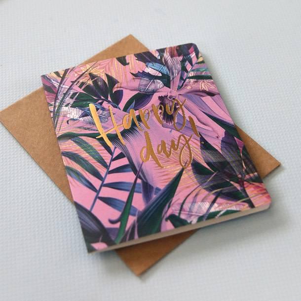 Bespoke Letter Press Bespoke Letterpress Greeting Card - Happy day (Jungle)